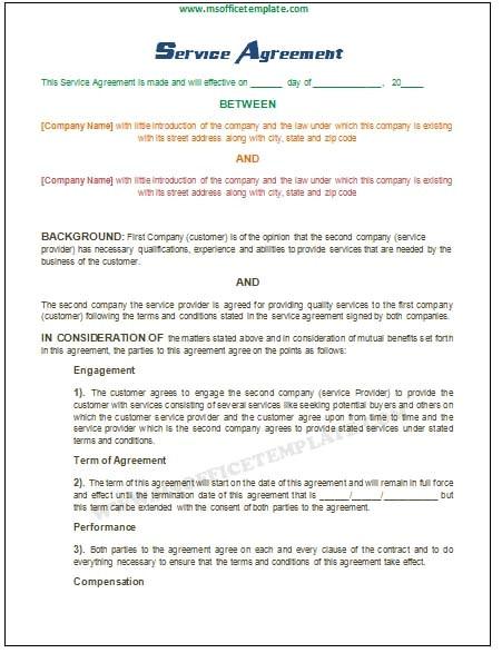Microsoft Office Contract Template Microsoft Office Templatesservice Agreement Template