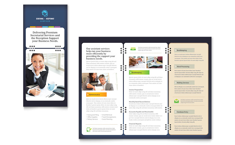 Microsoft Office Publisher Templates for Brochures Secretarial Services Tri Fold Brochure Template Word