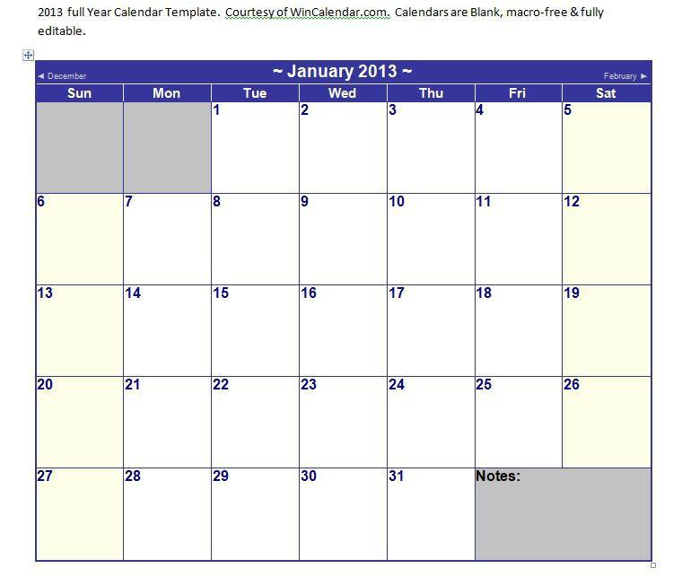 calendar template word 2