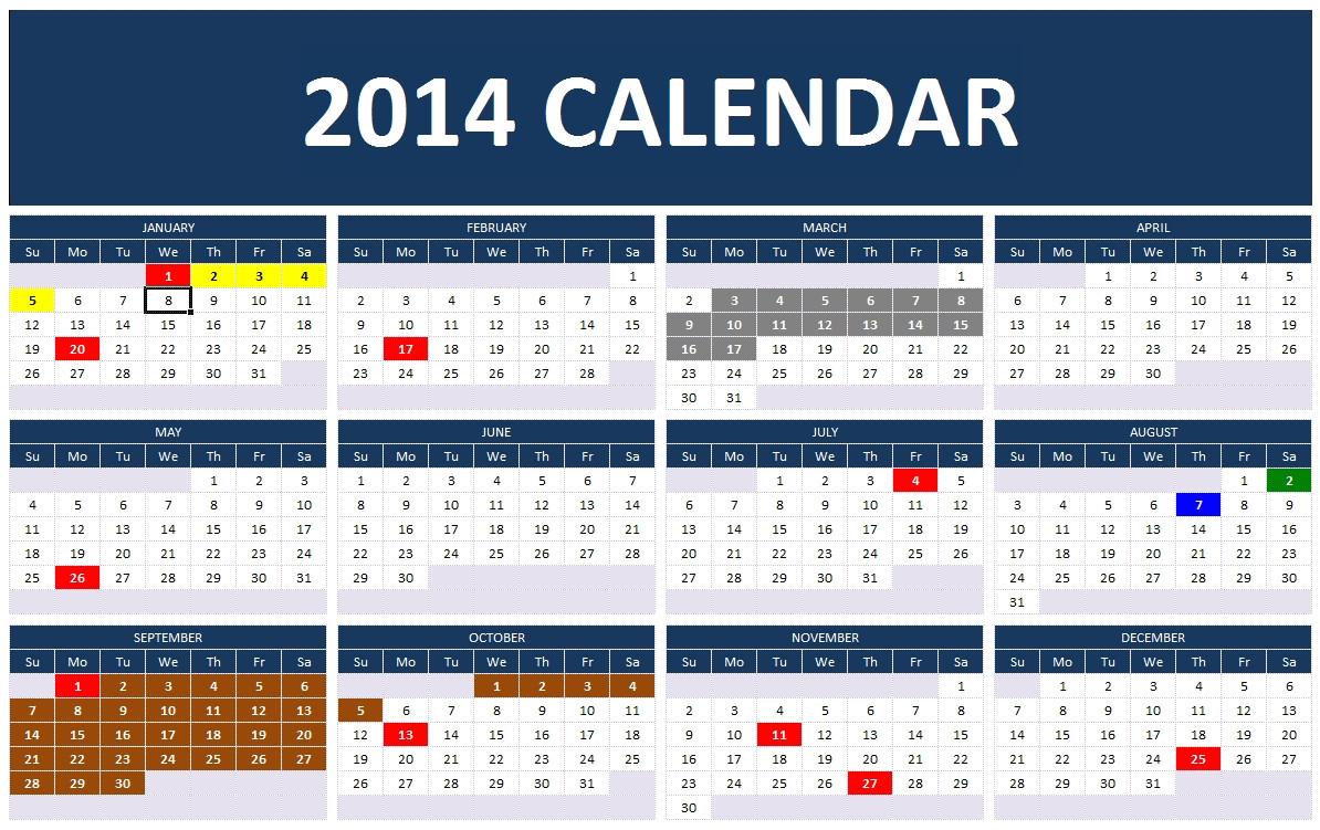 2014 calendar template excel