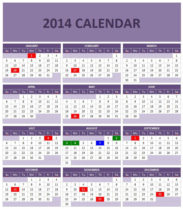 2014 calendar templates