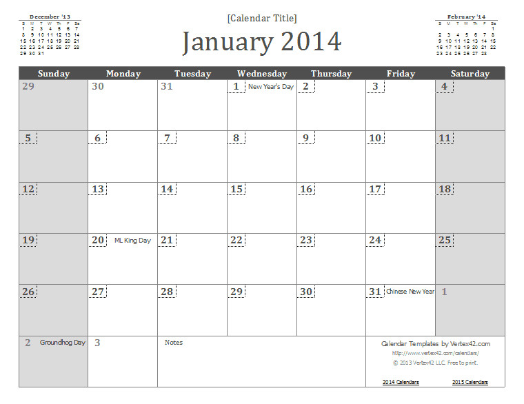 2014 monthly calendar template