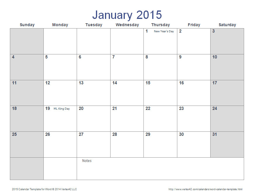 2015 monthly calendar template word