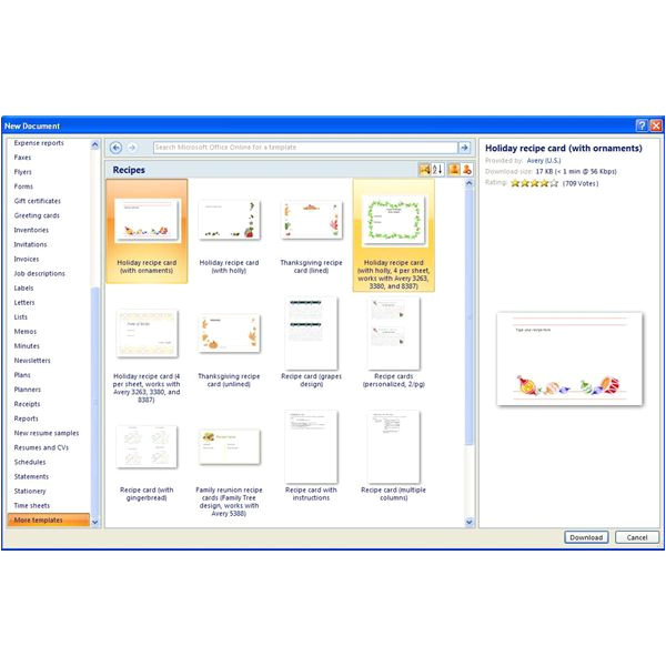 Micrsoft Word Templates Finding Microsoft Word Recipe Templates