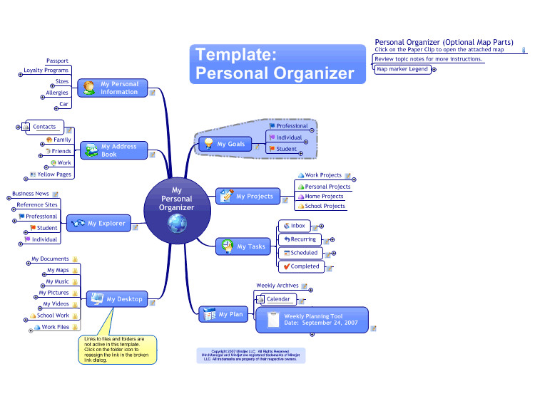 mindmanager personal organiser template mind map