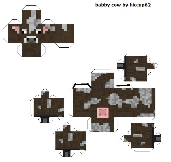 Minecraft Cow Template Baby Cow Papercraft Template Crafts Pinterest Baby