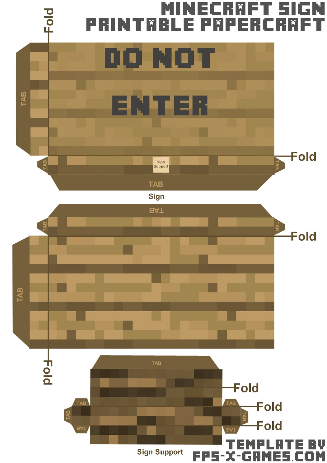 create minecraft papercraft template sign