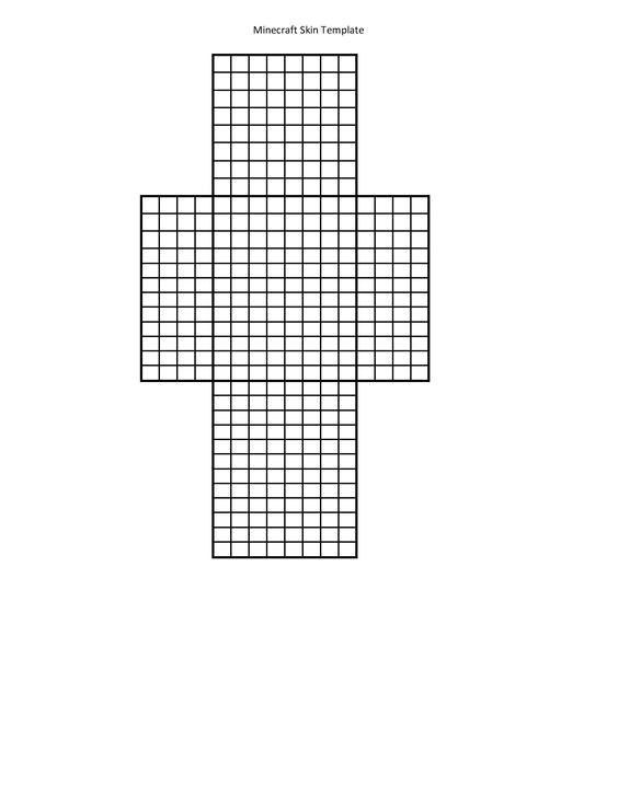 Minecraft Skin Template Grid Printable Template for Minecraft Skin Creation Use