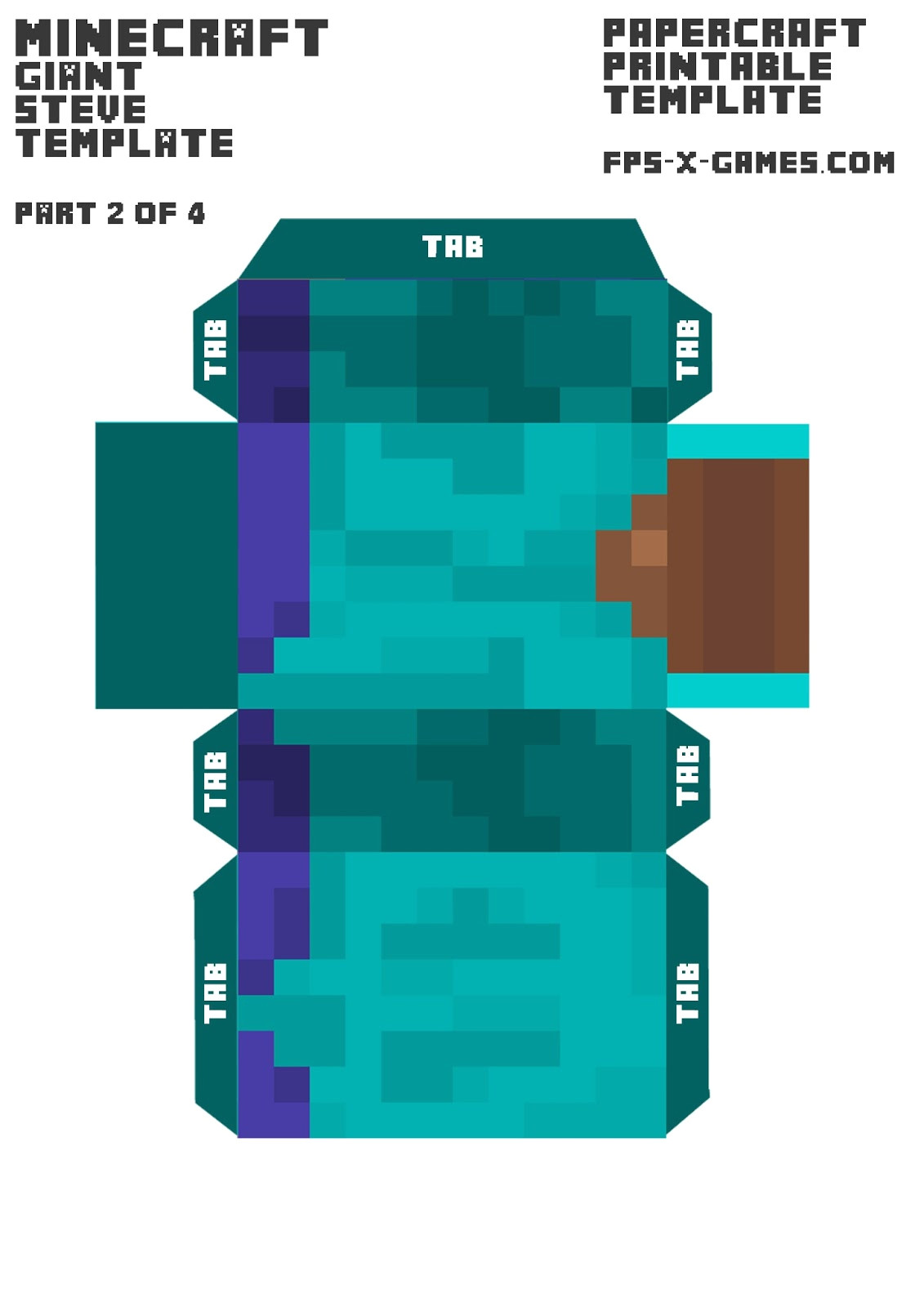 Minecraft Steve Paper Template Minecraft Giant Steve Body Template 2 4 Paper Model