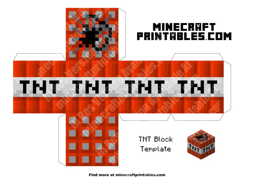 printable minecraft tnt block papercraft template
