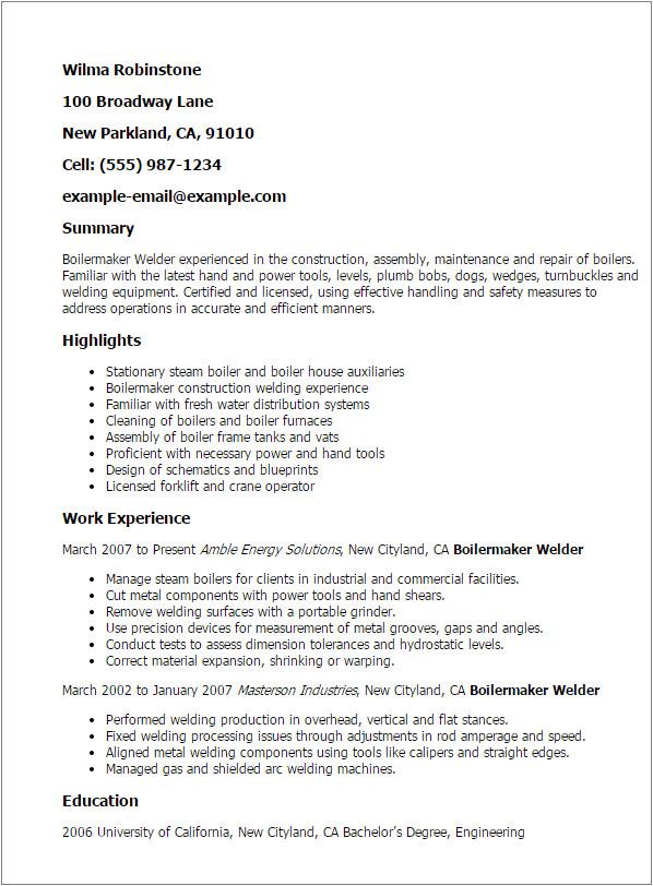 boilermaker welder resume examples