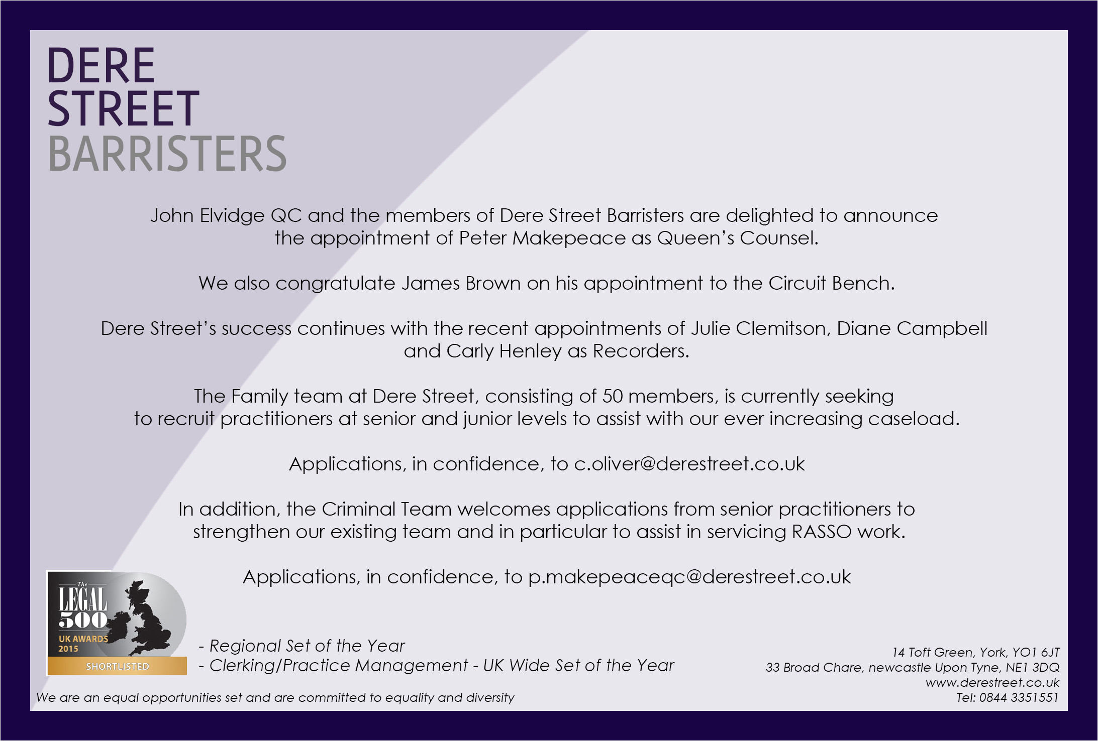 Mini Pupillage Covering Letter Recruitment and Pupillage Dere Street Barristers