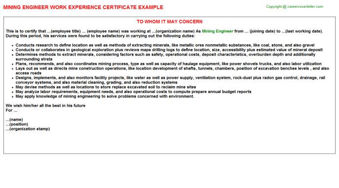 application letter mining engineer