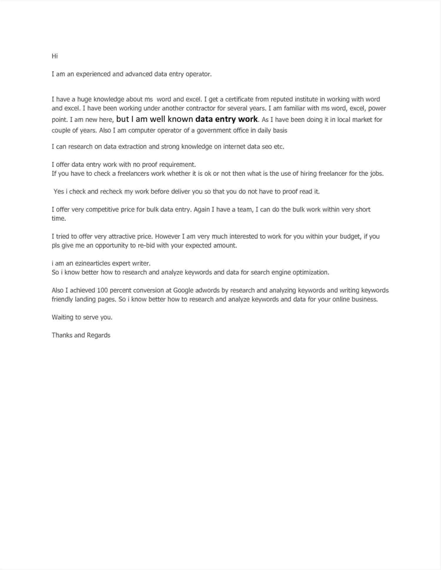 cover letter for data entry job