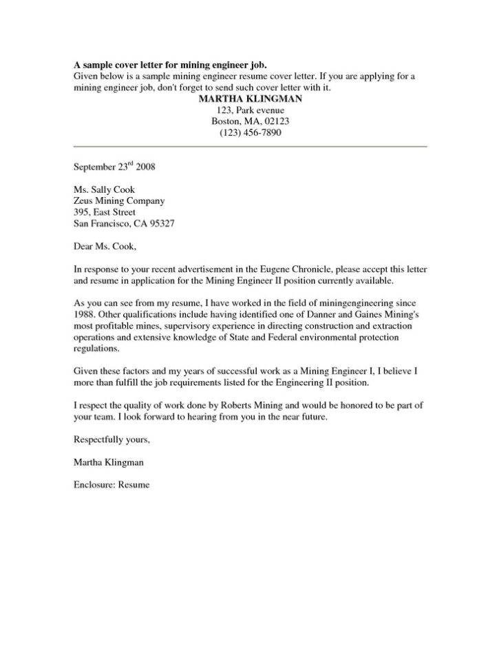cover letter template mining jobs
