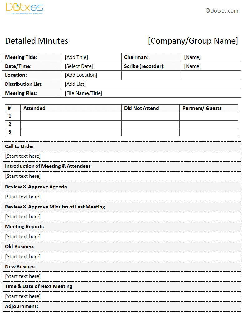 descriptive meeting minutes template