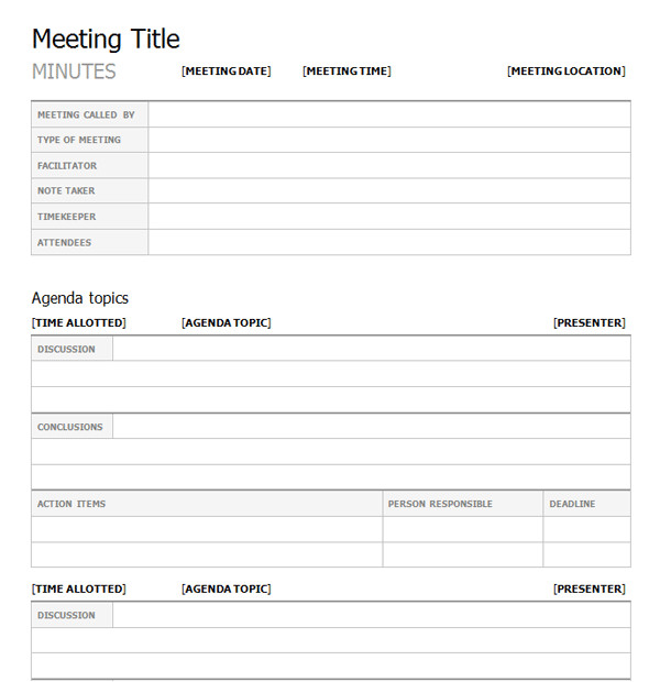 Minute Paper Template Meeting Minutes Template Print Paper Templates