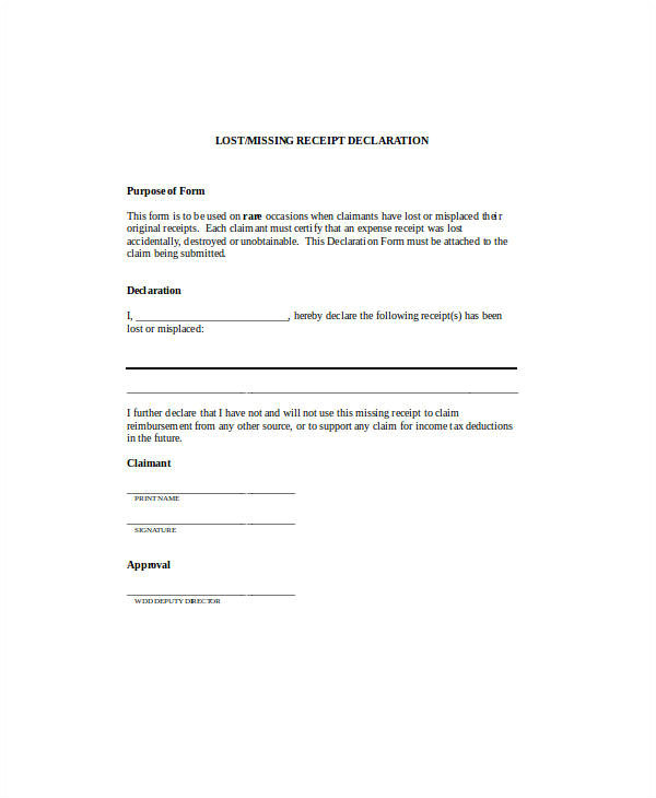 Missing Receipt Affidavit Template 16 Sample Receipt forms In Doc Sample Templates