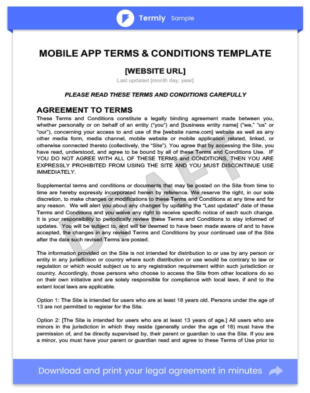 mobile app terms and conditions template