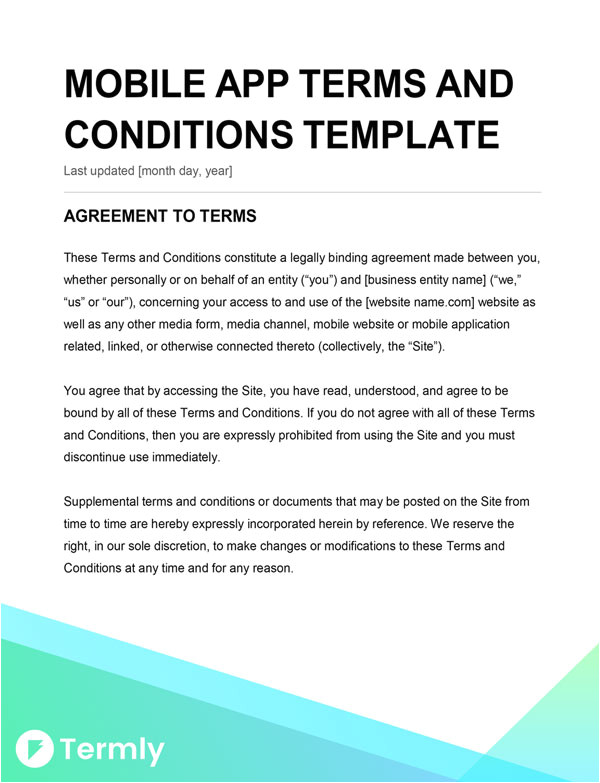 Mobile App Terms and Conditions Template Mobile App Terms Conditions Template Writing Guide
