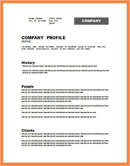 Model Company Profile Template 5 Model Company Profile Template Company Letterhead