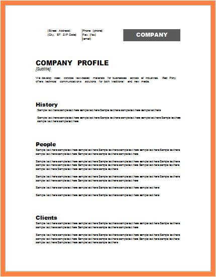 Model Company Profile Template 5 Model Company Profile Template Company Letterhead