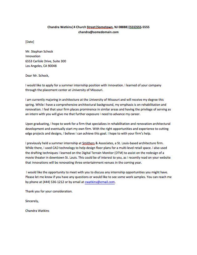 Model Cover Letter for Internship Cover Letter for Internship Sample Fastweb