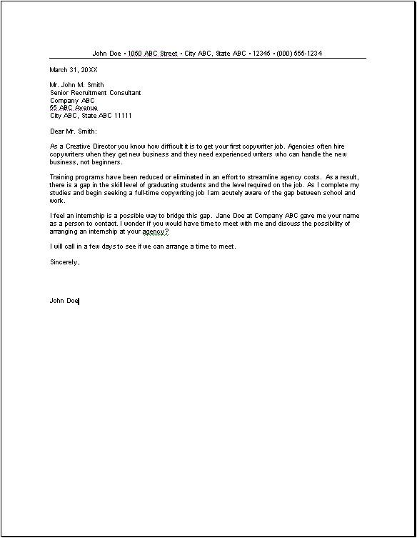 cover letter internship model