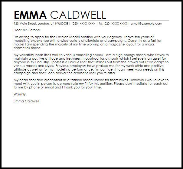 Model Cover Letter for Internship Fashion Model Cover Letter Sample Cover Letter Templates