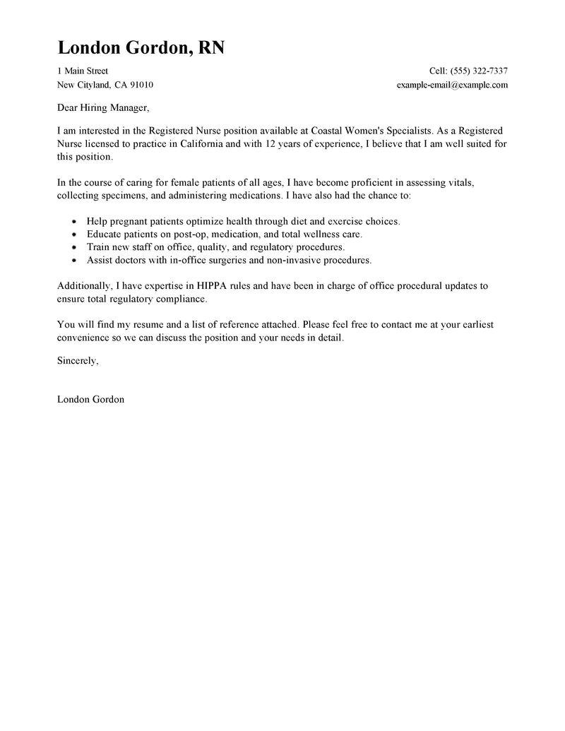 model cover letter