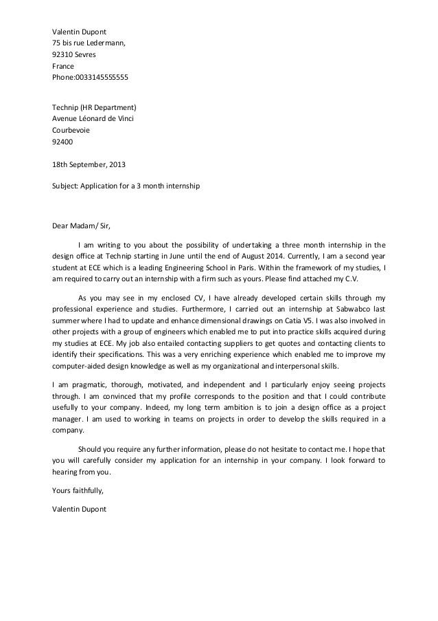 sample of motivation letter for internship