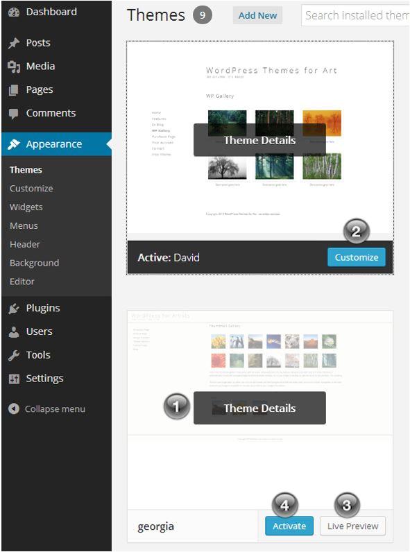 Modify WordPress Template Change WordPress themes WordPress for Artists