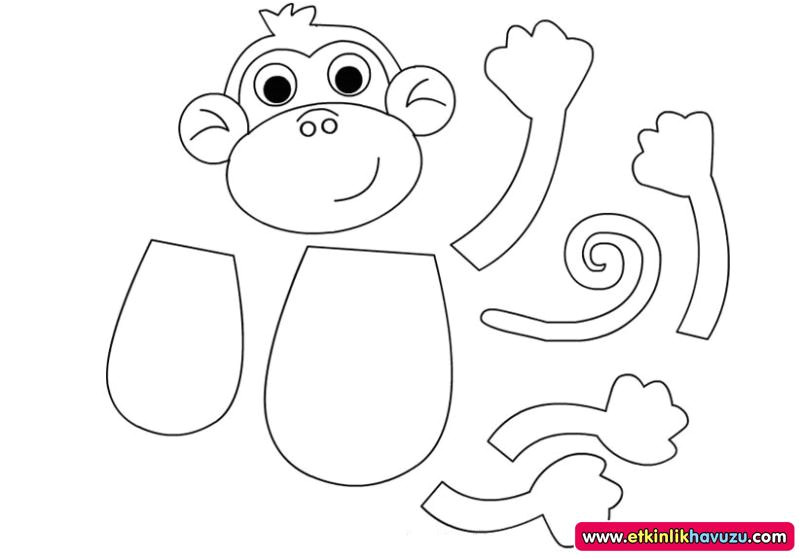Monkey Body Template Crafts Actvities and Worksheets for Preschool toddler and