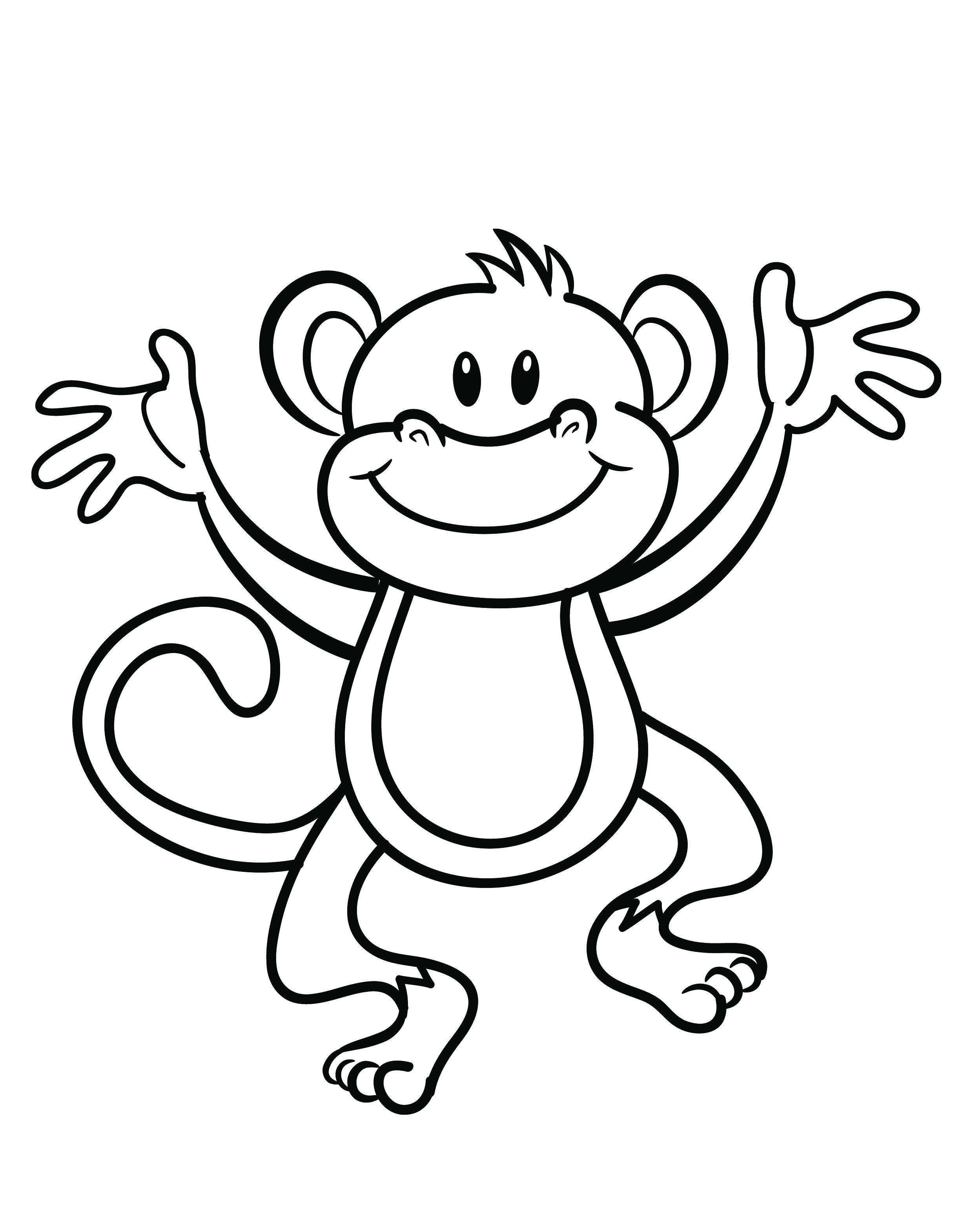 Monkey Body Template Free Printable Monkey Coloring Page Cj 1st Birthday