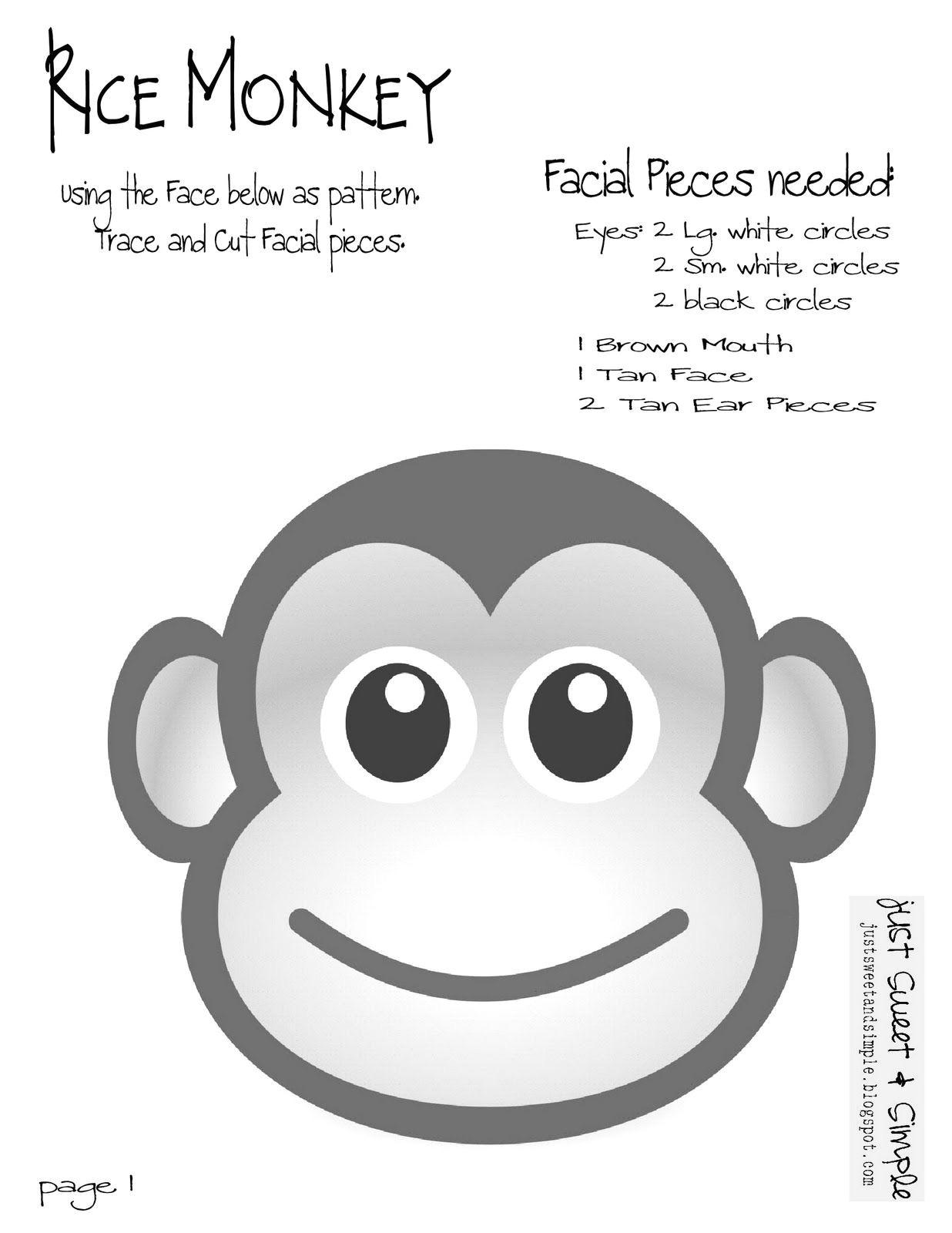 Monkey Body Template Printable Monkey Crafts Free Template Printable
