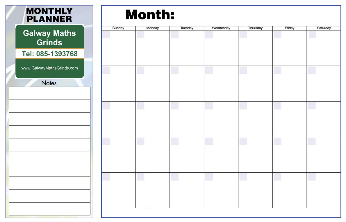 Monthly organiser Template Time Table Templates Galway Maths Grinds