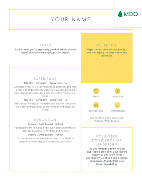 crisp and clean resume designed by moo tm16392720