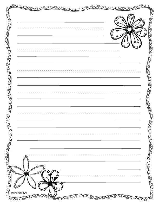 flower writing paper template