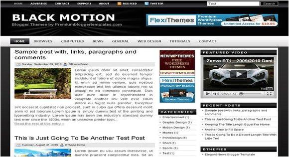 black motion blogger template