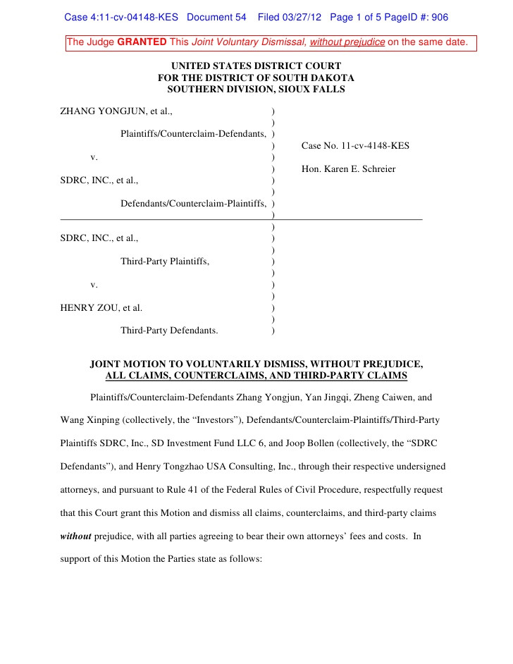 sdrc joint motion to dismiss
