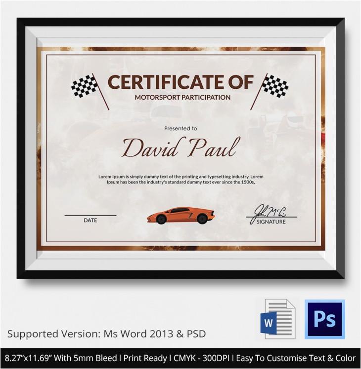 motosport certificate