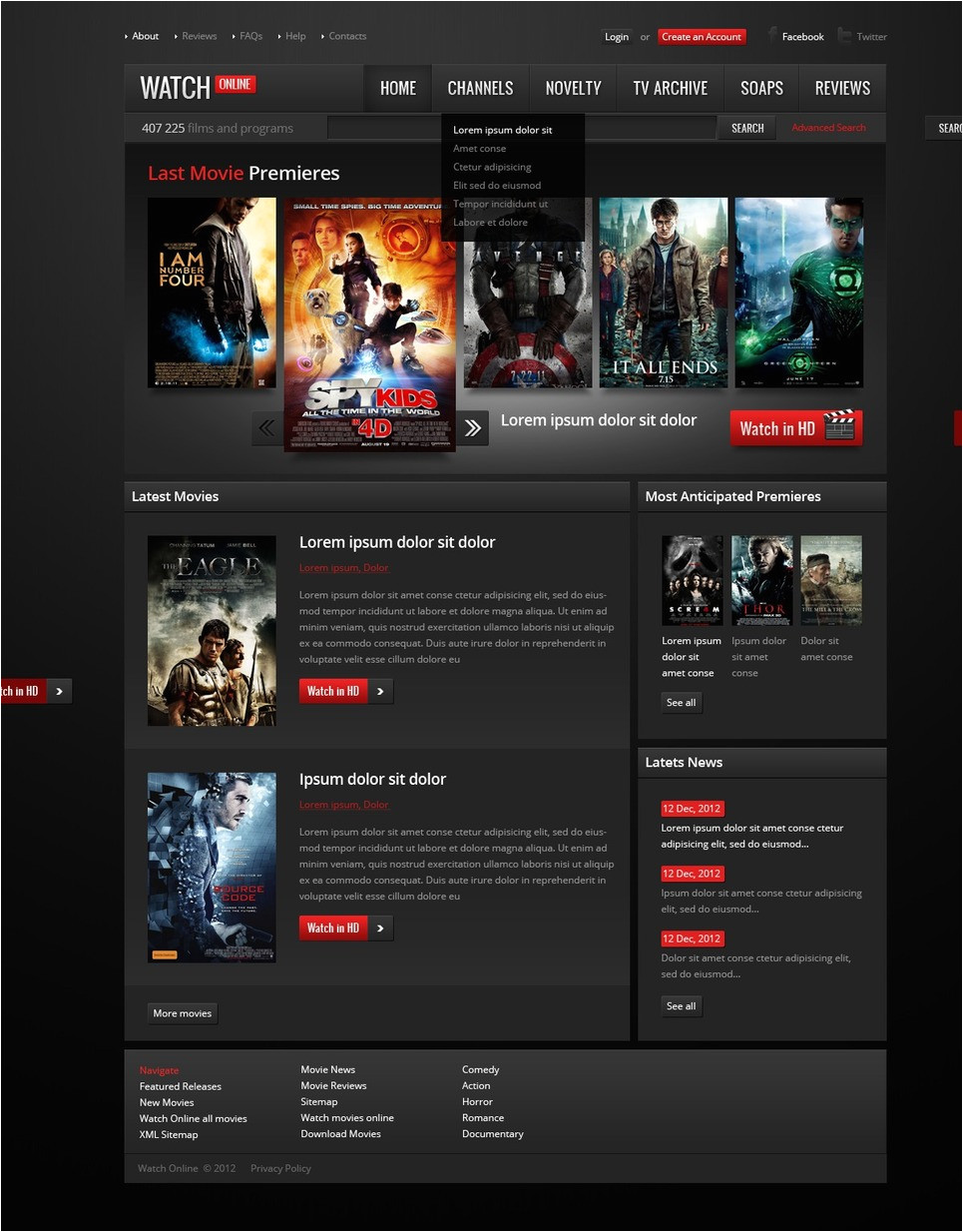 Movies HTML Template Movie Website Template 38511