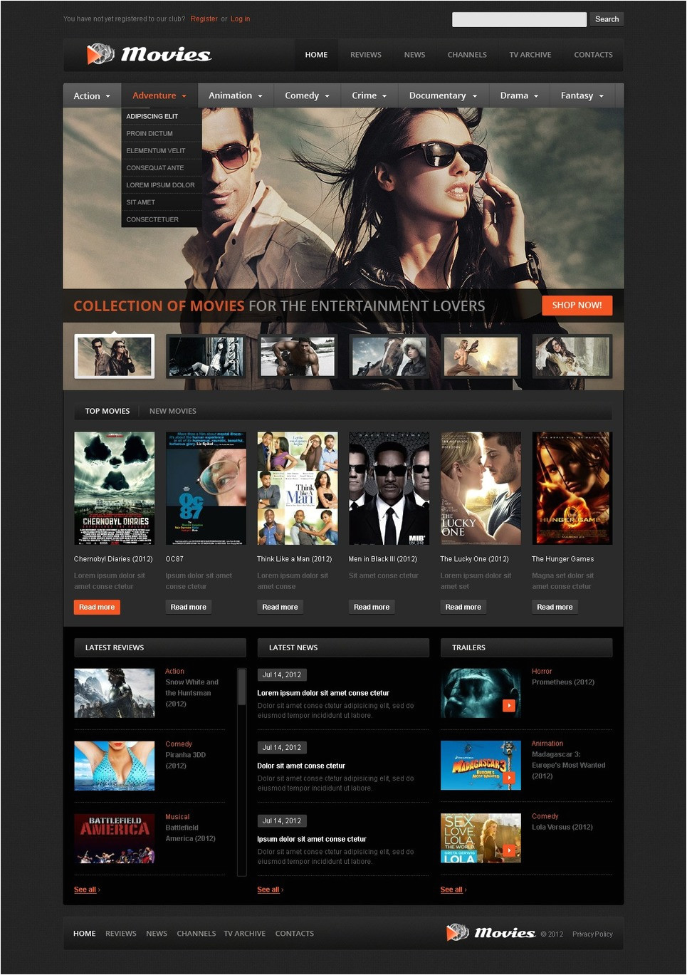 Movies HTML Template Movie Website Template 39510