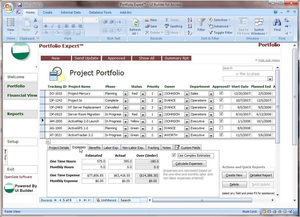 microsoft access project management template