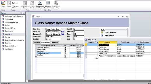 microsoft access student database templates 582