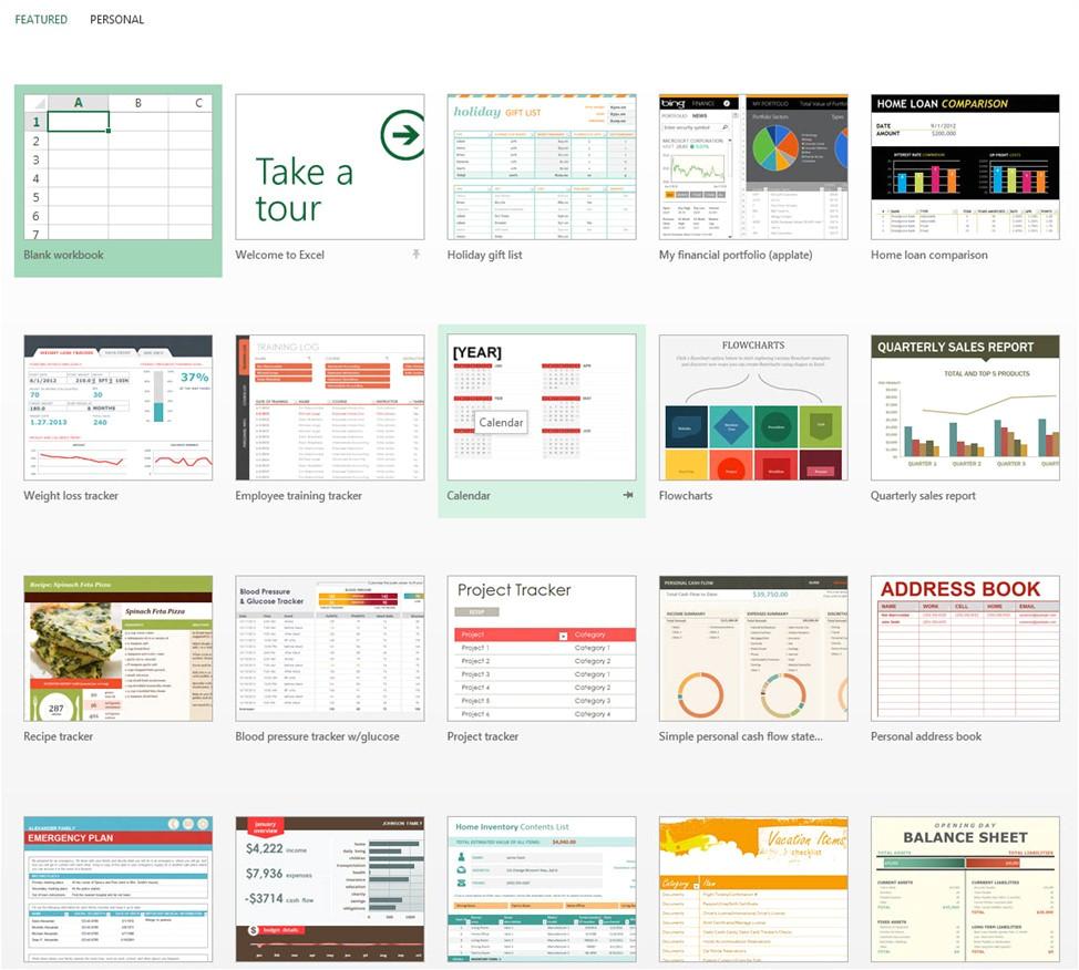 excel 2013 templates