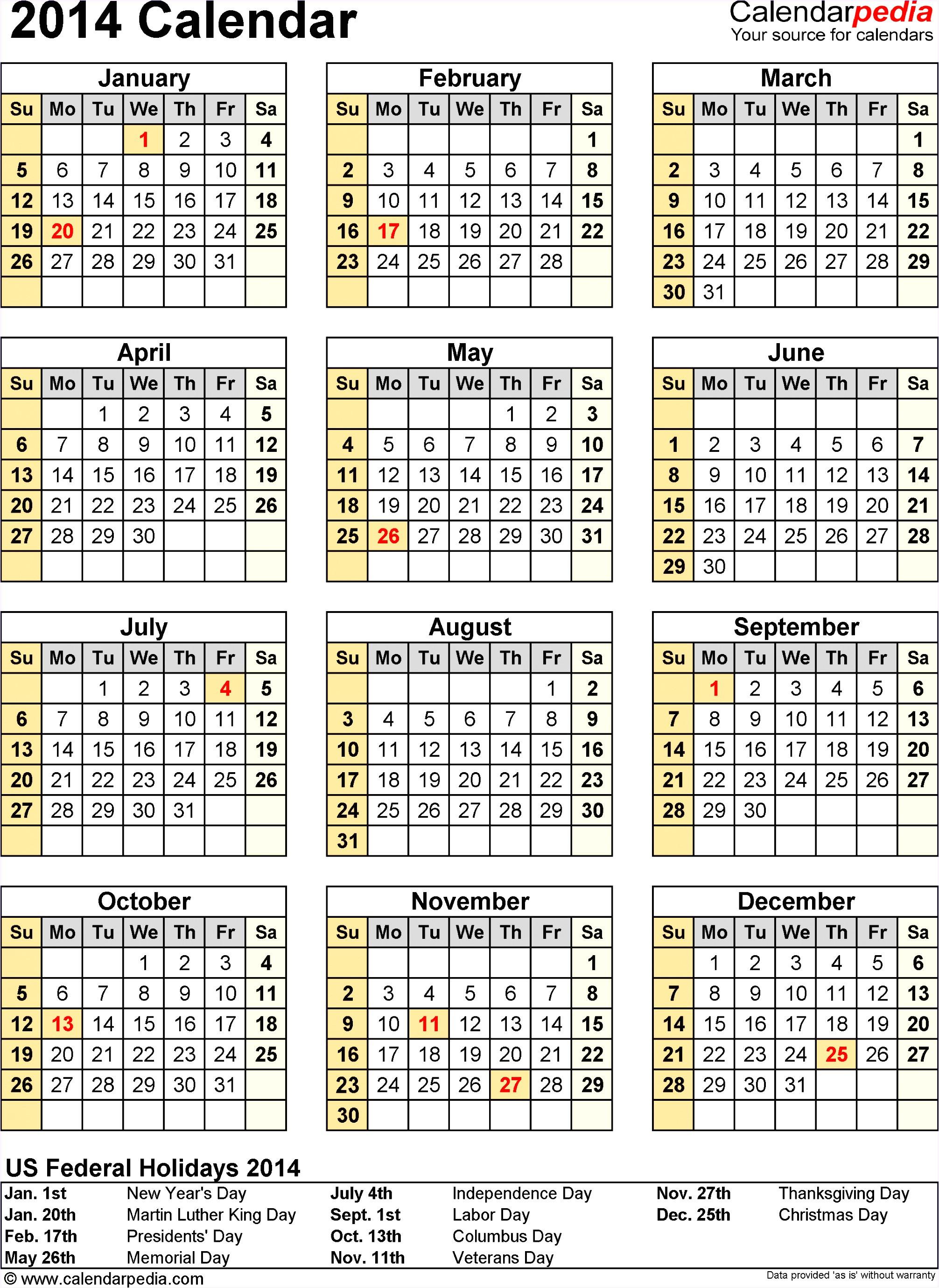 ms excel calendar template 2014 x2784