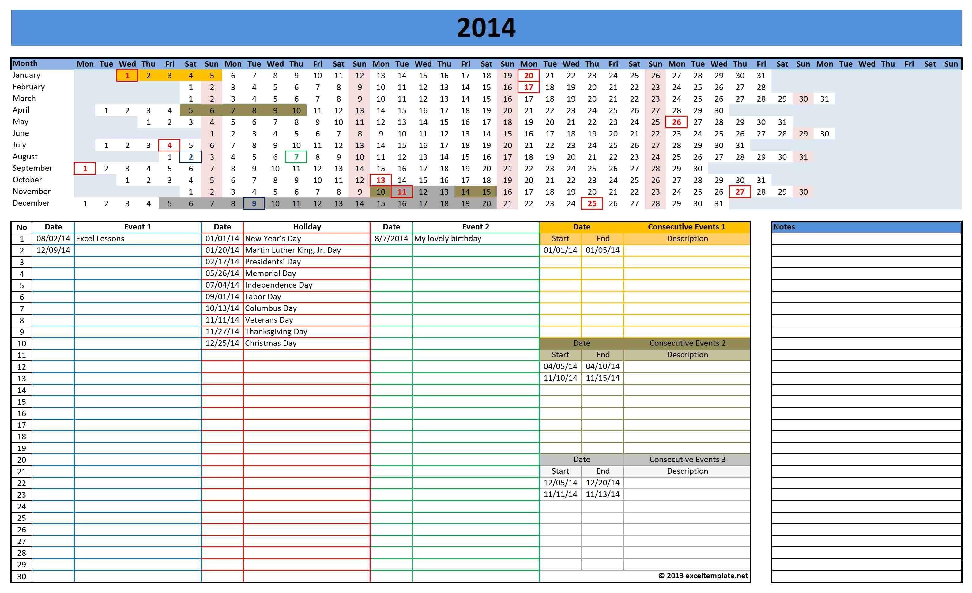 Ms Excel Calendar Template 2014 Microsoft Calendar Template 2014 Madinbelgrade