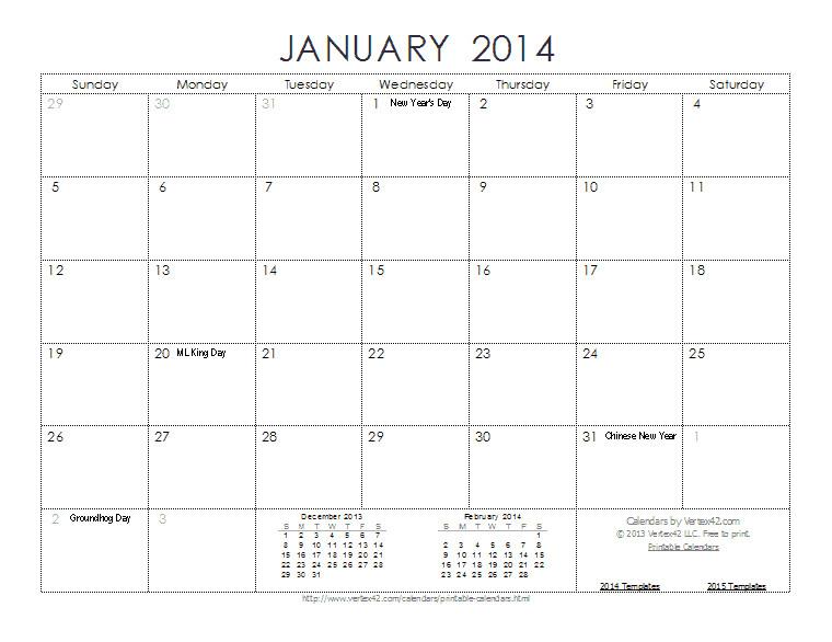 calendar 2014 template word