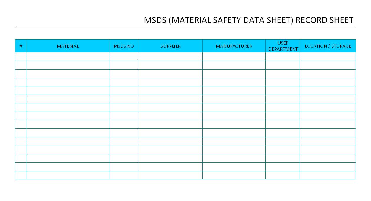 msds record sheet
